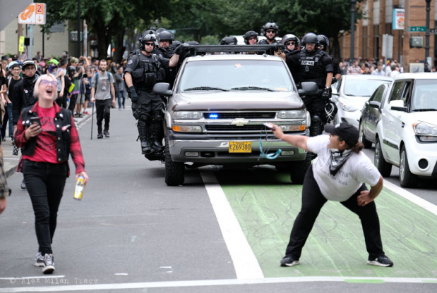 Woman snapped twerking at PPB during protest sues for false arrest