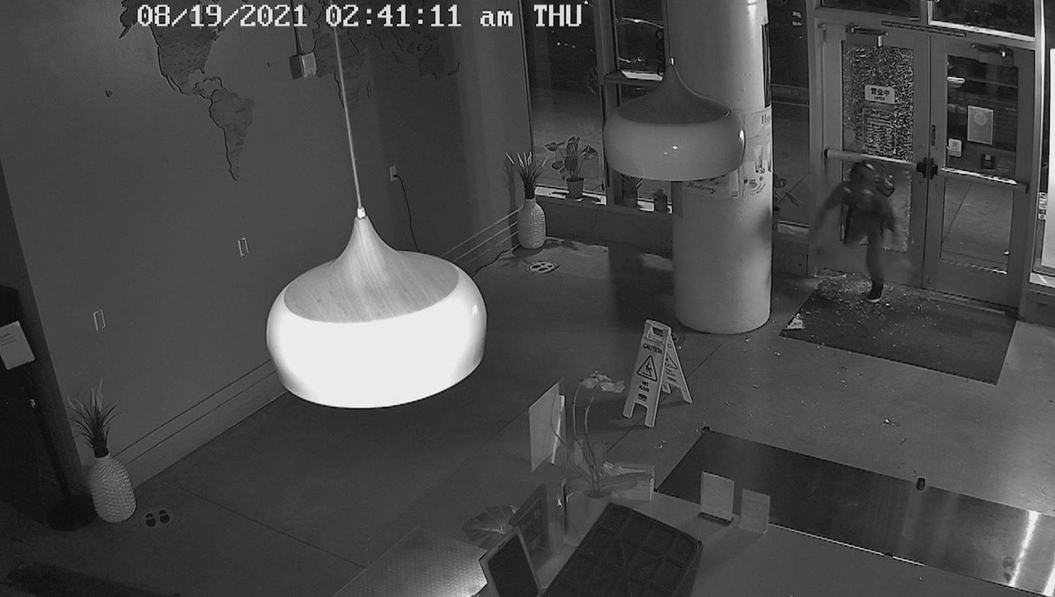 Caught on camera: Door smashed, items stolen from Ding Tea PSU