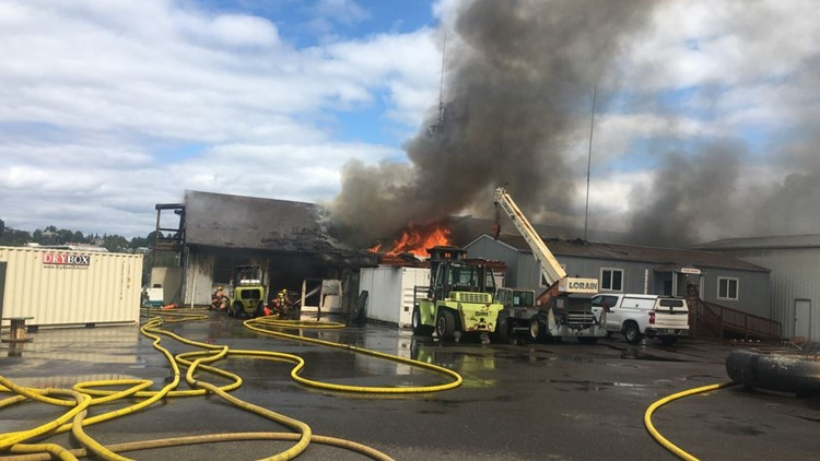 Large fire damages buildings on US Army Corps of Engineers Property in Northwest Portland