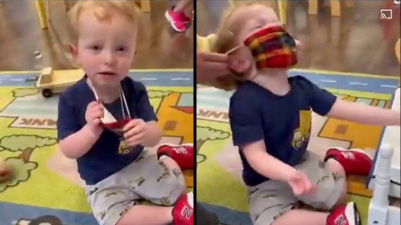 Video: Toddler Cries as Daycare Workers Force Mask on Him
